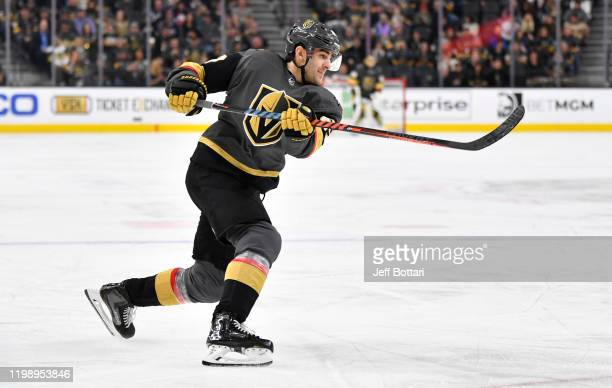 Max Pacioretty of the Vegas Golden Knights shoots the puck during the third period against the Columbus Blue Jackets at TMobile Arena on January 11...