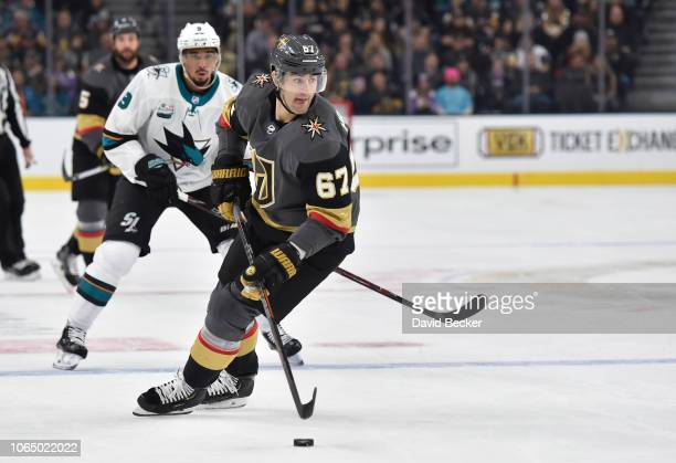 Max Pacioretty of the Vegas Golden Knights skates during the first period against the San Jose Sharks at TMobile Arena on November 24 2018 in Las...