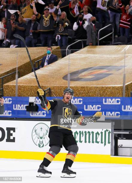 Max Pacioretty of the Vegas Golden Knights skates on the ice after being named the first star of the game following the team's 3-2 victory over the...