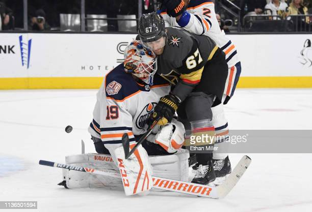 Max Pacioretty of the Vegas Golden Knights tries to direct a shot into the net against Mikko Koskinen of the Edmonton Oilers in the second period of...