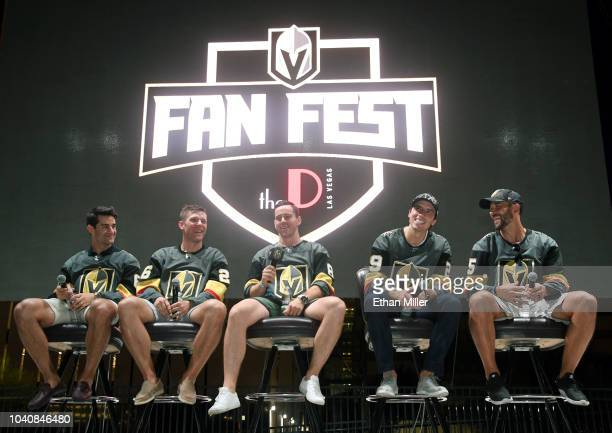 Max Pacioretty Paul Stastny Jonathan Marchessault MarcAndre Fleury and Deryk Engelland of the Vegas Golden Knights answer questions during the Vegas...