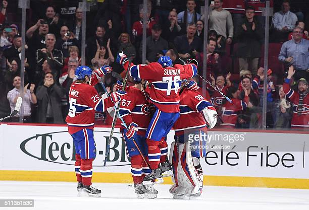 Max Pacioretty PK Subban Mike Condon and Jacob De La Rose of the Montreal Canadiens celebrate after defeating Philadelphia Flyers in the NHL game at...