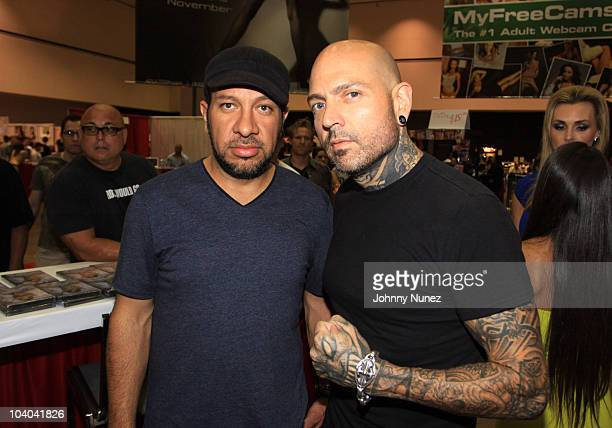 Max Padilla and Evan Seinfeld attend the Adultcon Adult Entertainment Convention at Los Angeles Convention Center on September 12 2010 in Los Angeles...