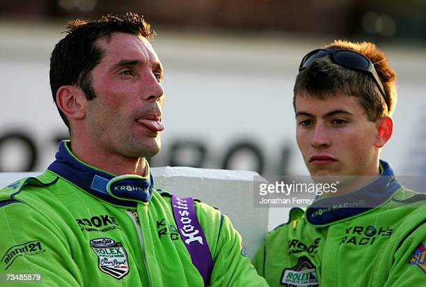 Max Papis reacts after driving his Krohn Racing Pontiac Riley to a second place finish with teammate Colin Braun during the GrandAm Rolex Sports Car...