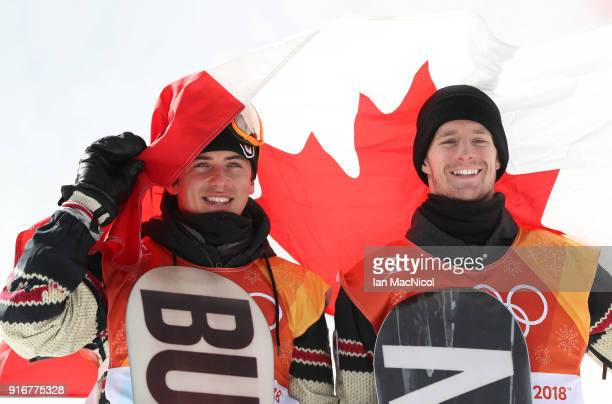 Max Parrot and Mark McMorris of Canada celebrate after winning silver and bronze during the Snowboard Men's Slopestyle Final on day two of the...