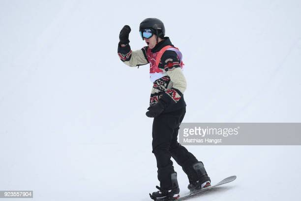 Max Parrot of Canada celebrates after his run during the Men's Big Air Final Run 1 on day 15 of the PyeongChang 2018 Winter Olympic Games at Alpensia...