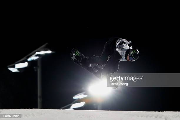 Max Parrot of Canada competes in the Men's Snowboard Big Air finals during the 2019 AirStyle Beijing FIS SnowBoard World Cup at Shougang Park on...