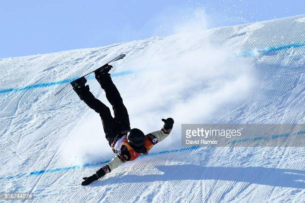 Max Parrot of Canada crashes during the Snowboard Men's Slopestyle Final on day two of the PyeongChang 2018 Winter Olympic Games at Phoenix Snow Park...
