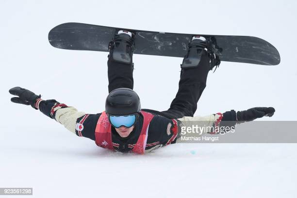 Max Parrot of Canada falls on the landing during the Men's Big Air Final Run 2 on day 15 of the PyeongChang 2018 Winter Olympic Games at Alpensia Ski...