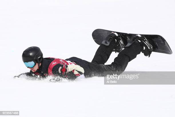 Max Parrot of Canada falls on the landing during the Men's Big Air Final Run 3 on day 15 of the PyeongChang 2018 Winter Olympic Games at Alpensia Ski...