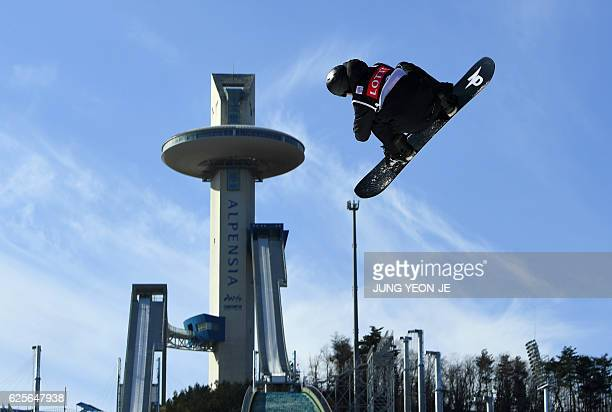 Max Parrot of Canada jumps during a training session for the FIS Snowboard World Cup Big Air event at Alpensia Ski Jumping Centre in Pyeongchang 150...