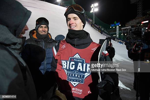 Max Parrot of Canada reacts after winning the Polartec Big Air event at Fenway Park on February 11 2016 in Boston Massachusetts