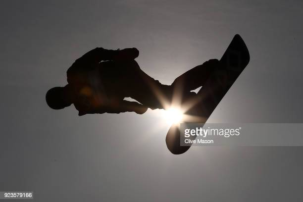 Max Parrot of Canada trains during the Men's Big Air Final on day 15 of the PyeongChang 2018 Winter Olympic Games at Alpensia Ski Jumping Centre on...
