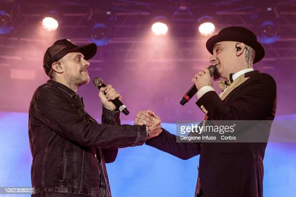 Max Pezzali and JAx perform on stage at Fabrique Club on October 16 2018 in Milan Italy
