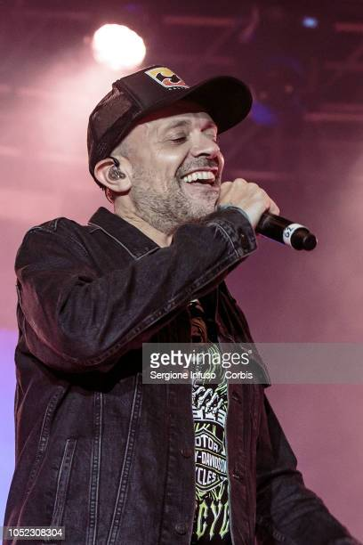 Max Pezzali performs on stage at Fabrique Club for JAx on October 16 2018 in Milan Italy