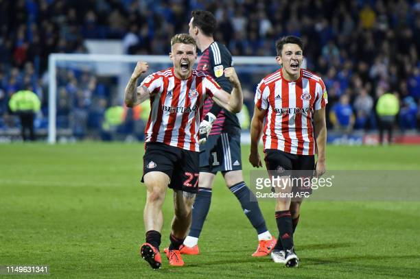 Max Power and Luke O'Nien of Sunderland celebrate following their team's victory in the Sky Bet League One PlayOff Second Leg match between...