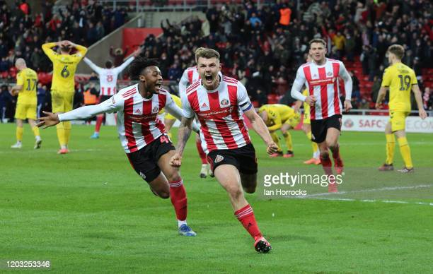 Max Power of Sunderland celebrates after he scores a late goal during the Sky Bet Leauge One match between Sunderland and Fleetwood Town at Stadium...
