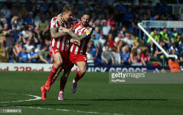 Max Power of Sunderland celebrates after putting his team 10 up during the Sky Bet League 1 match between Peterborough and Sunderland at London Road...