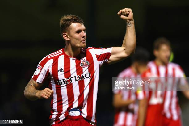 Max Power of Sunderland celebrates at the full time whistle during the Sky Bet League One match between Gillingham and Sunderland at Priestfield...