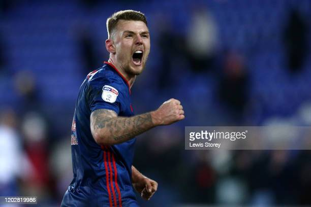 Max Power of Sunderland celebrates his sides victory following the Sky Bet League One match between Tranmere Rovers and Sunderland at Prenton Park on...