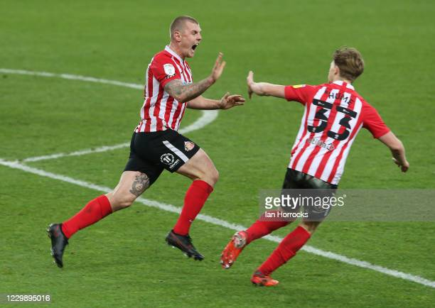Max Power of Sunderland celebrates scoring his team's first goal during the Sky Bet League One match between Sunderland and Burton Albion at Stadium...