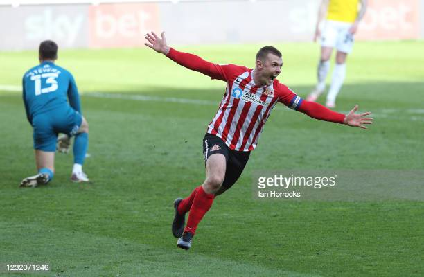 Max Power of Sunderland scores the third goal and celebrates during the Sky Bet League One match between Sunderland AFC and Oxford United at The...