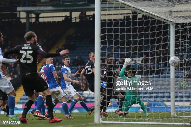 Max Power of Wigan Athletic scores a goal to make it 2-2 during the Sky Bet League One match between Blackburn Rovers and Wigan Athletic at Ewood...
