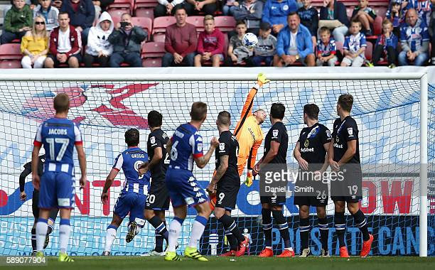 Max Power of Wigan Athletic takes a penalty kick during the Sky Bet Championship League match between Wigan Athletic and Blackburn Rovers at DW...