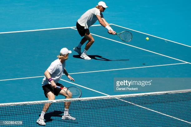 Max Purcell and Luke Saville of Australia play in their Men's Doubles Semifinals match against Ivan Dodig of Croatia and Filip Polasek of Slovakia on...
