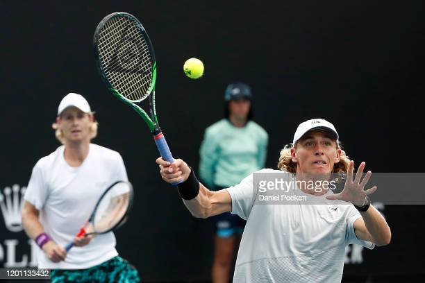 Max Purcell and Luke Saville of Australia play their Men's Doubles first round match against Andrey Rublev of Russia and Andrei Vasilevski of Belarus...