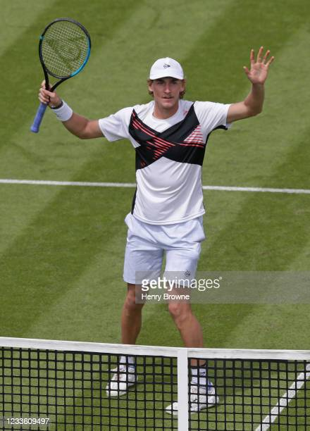 Max Purcell of Australia celebrates winning his second round mens singles match against Gael Monfils of France during day 5 of the Viking...