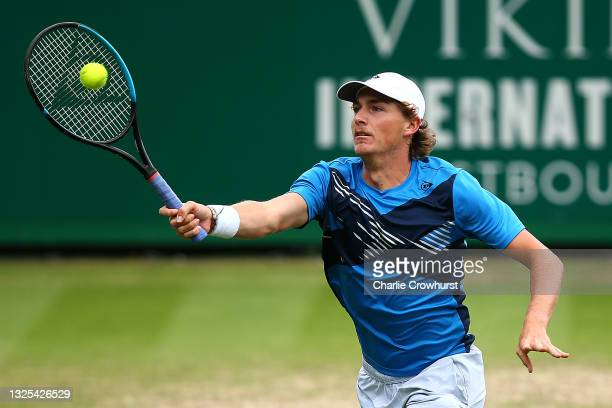 Max Purcell of Australia in action during his mens singles semi final match against Lorenzo Sonego of Italy during day 7 of the Viking International...