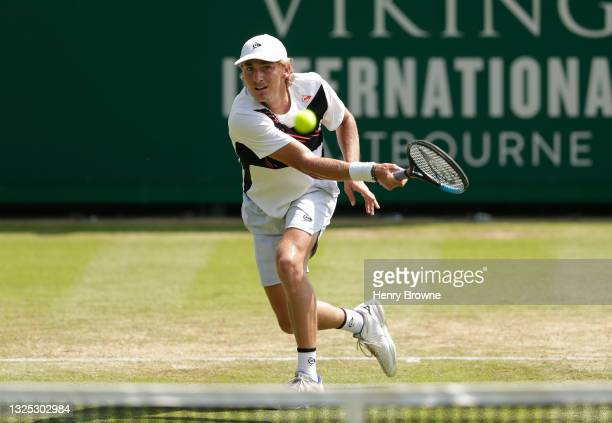 """Max Purcell of Australia in action during his men""""u2019s singles quarter final match against Andreas Seppi of Italy during day 6 of the Viking..."""
