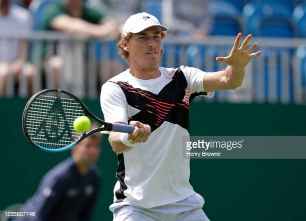 Max Purcell of Australia in action during his second round mens singles match against Gael Monfils of France during day 5 of the Viking International...