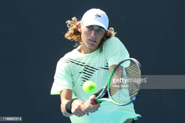 Max Purcell of Australia plays a backhand in his match against Gianluca Mager of Italy during 2020 Australian Open Qualifying at Melbourne Park on...