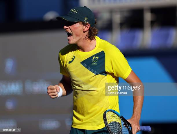 Max Purcell of Team Australia celebrates after match point during his Men's Singles First Round match against Felix Auger-Aliassime of Team Canada on...