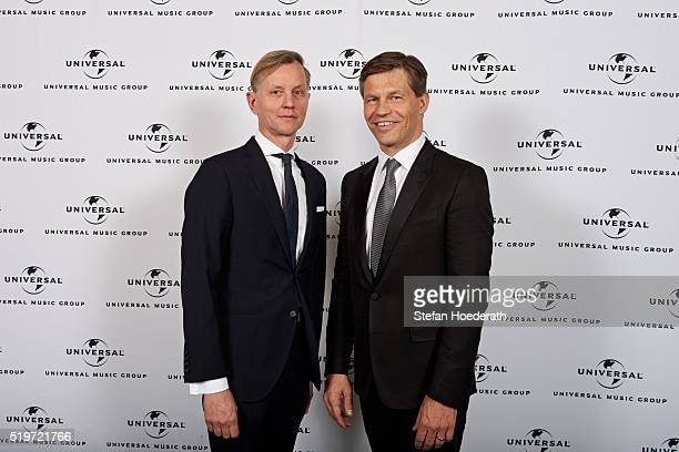 Max Raabe and Frank Briegmann attend the preparty hosted by Universal Music ahead of the Echo Award 2016 at ICB on April 7 2016 in Berlin Germany