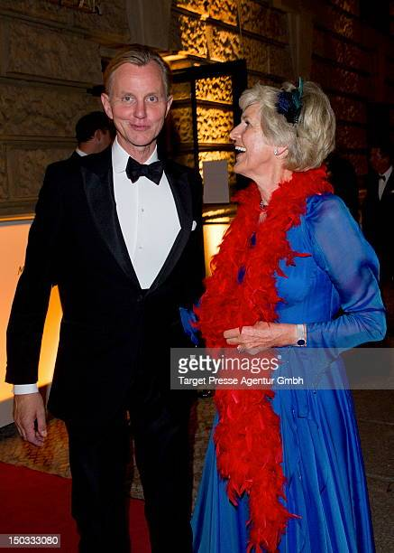 Max Raabe and Friede Springer attend the celebration of the 70th birthday of Friede Springer at the restaurant 'Gendarmarie' on August 15 2012 in...