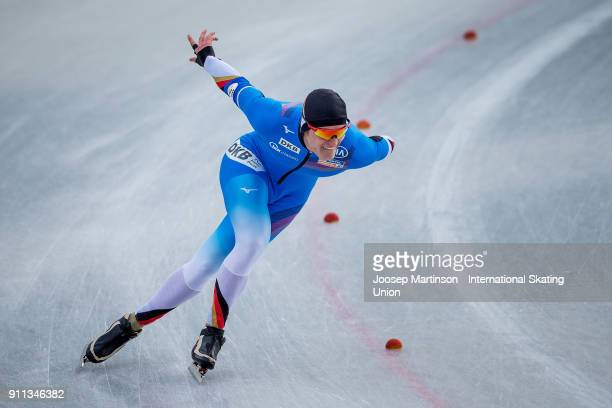 Max Reder of Germany competes in the Men's 1500m during day two of the ISU Junior World Cup Speed Skating at Olympiaworld Ice Rink on January 28 2018...