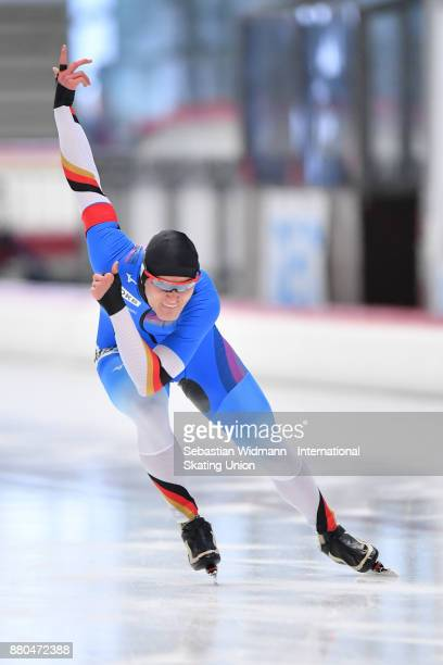 Max Reder of Germany performs during the Men 500 Meter at the ISU Junior World Cup Speed Skating at Max Aicher Arena on November 26 2017 in Inzell...