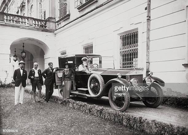 Max Reinhardt with Duff Cooper, Rudolf Kommer and Lady Diana Manners in front of the Schloss Leopoldskron, Photograph by Otto Paap, Austria, Around...
