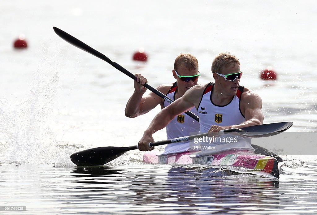 Max Rendschmidt and Marcus Gross of Germany compete during the Men's Kayak Double 1000m Final at the Lagoa Stadium on Day 13 of the 2016 Rio Olympic Games on August 18, 2016 in Rio de Janeiro, Brazil.