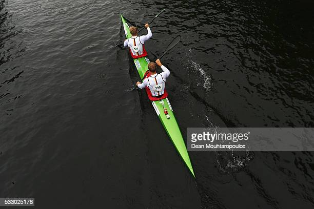 Max Rendschmidt and Marcus Gross of Germnay paddle after competing in the K2 M 1000 during Day 1 of the ICF Canoe Sprint World Cup 1 held at...