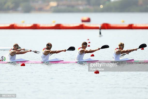 Max Rendschmidt, Tom Liebscher, Max Hoff and Marcus Gross of Germany compete on their way to winning the gold medal in the Men's Kayak Four 1000m...