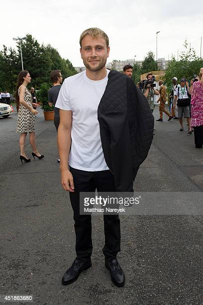 Max Riemelt attends the Kilian Kerner show during the MercedesBenz Fashion Week Spring/Summer 2015 at Erika Hess Eisstadion on July 8 2014 in Berlin...