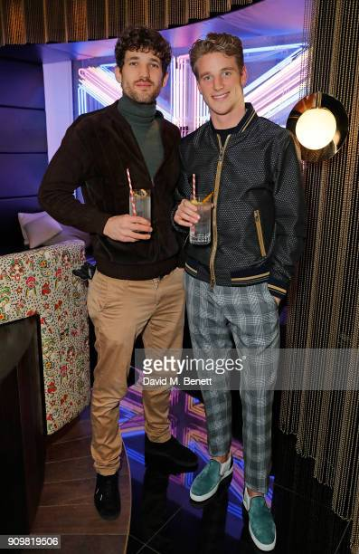 Max Rogers and Roger Frampton attend The Flexible Body book launch hosted by Roger Frampton at the Perception at The W London Hotel with Patron...