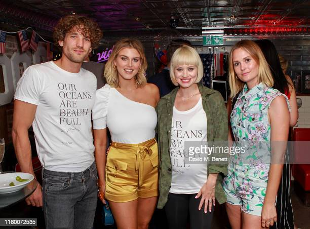Max Rogers Ashley James Kimberly Wyatt and Charlotte de Carle kick off the fourth of July celebrations at a party hosted by the original American...