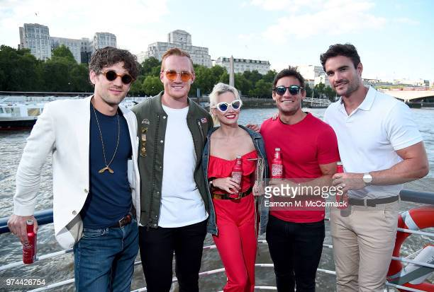 Max Rogers Greg Rutherford Kimberly Wyatt Max Evans and Thom Evans on board the Bud Boat for the launch party hosted by Budweiser the Official Beer...