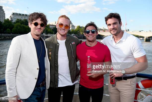 Max Rogers Greg Rutherford Max Evans and Thom Evans on board the Bud Boat for the launch party hosted by Budweiser the Official Beer of the 2018 FIFA...
