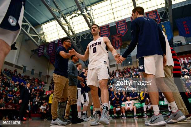 Max Rothschild of the Pennsylvania Quakers is introduced before the game of a semifinal round matchup in the Ivy League Men's Basketball Tournament...